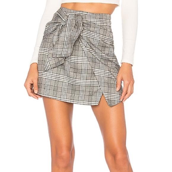 Lovers + Friends Dresses & Skirts - Lovers + Friends Julie Wrap Plaid Mini Gray Skirt